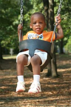 a child swinging